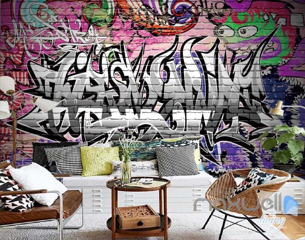 3D Graffiti Letters Monster Wall Mural Paper Art Print Decals Decor Wallpaper IDCWP-TY-000041