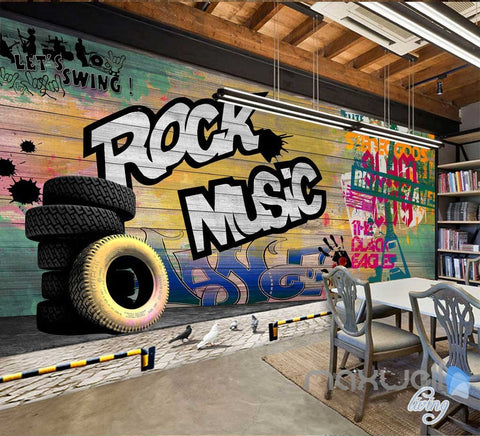Image of 3D Graffiti Board Rock Music Wall Mural Paper Art Print Decals Decor Wallpaper IDCWP-TY-000042