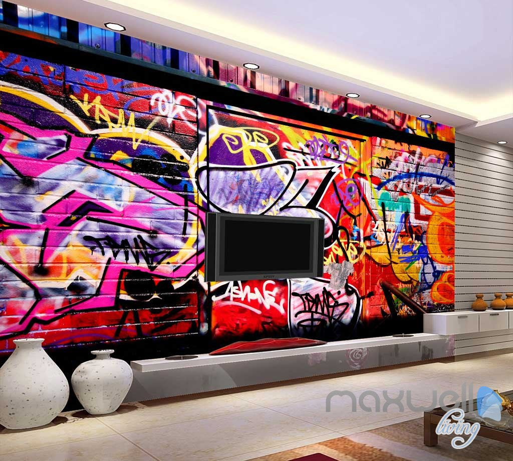 3D Graffiti Back Door Wall Murals Paper Art Print Decals Decor Wallpaper IDCWP-TY-000046