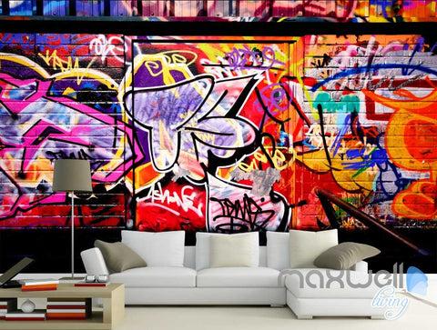 Image of 3D Graffiti Back Door Wall Murals Paper Art Print Decals Decor Wallpaper IDCWP-TY-000046