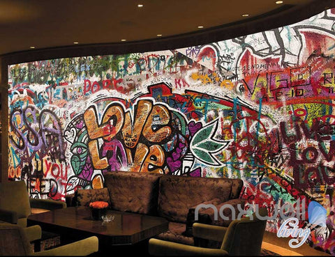 Image of 3D Graffiti Door Love Wall Murals Paper Print Decals Decor Wallpaper IDCWP-TY-000050