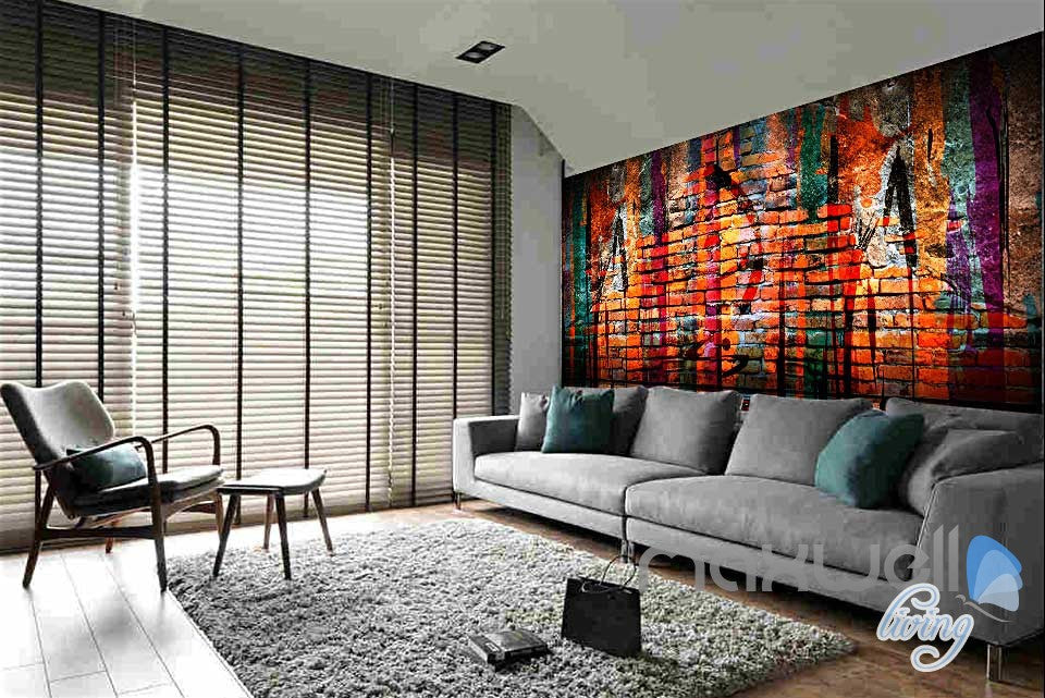 3D Colorful Brick Wall Paper Art Murals Print Decals Decor Wallpaper IDCWP-TY-000052