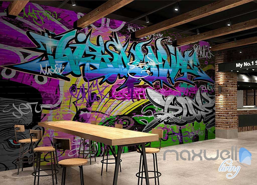 3D Graffiti Blue Letters Wall Paper Art Murals Print Decals Decor Wallpaper IDCWP-TY-000053