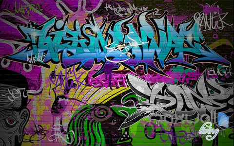 Image of 3D Graffiti Blue Letters Wall Paper Art Murals Print Decals Decor Wallpaper IDCWP-TY-000053