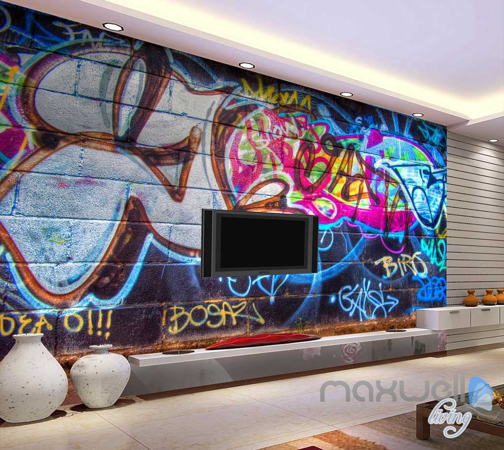 3D Graffiti Chalk Art Wall Paper Murals Print Decals Decor Wallpaper IDCWP-TY-000054