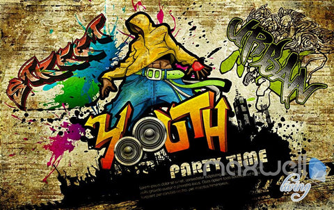 Image of 3D Graffiti Party Time Wall Paper Murals Print Decals Decor Wallpaper IDCWP-TY-000056