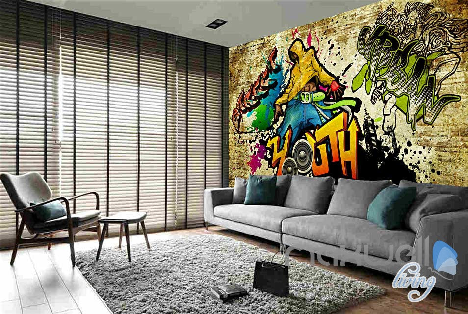 3D Graffiti Party Time Wall Paper Murals Print Decals Decor Wallpaper IDCWP-TY-000056