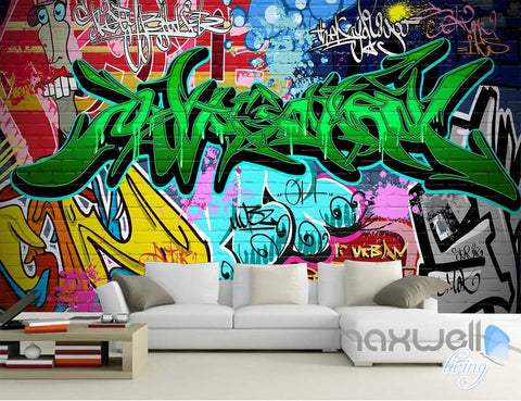 Image of 3D Graffiti Green Letters Wall Art Murals Paper Print Decals Decor Wallpaper IDCWP-TY-000061