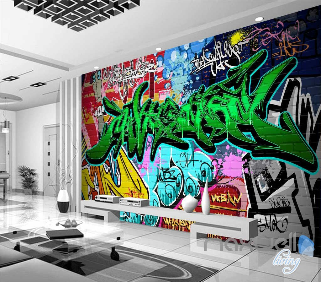 3D Graffiti Green Letters Wall Art Murals Paper Print Decals Decor Wallpaper IDCWP-TY-000061