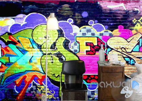 Image of 3D Graffiti Color Brick Wall Art Murals Paper Print Decals Decor Wallpaper IDCWP-TY-000062