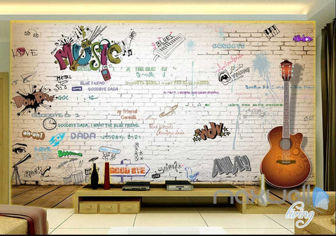 Image of 3D Graffiti Music Guitar Keyboard Wall Mural Paper Art Print Decals Decor IDCWP-TY-000063