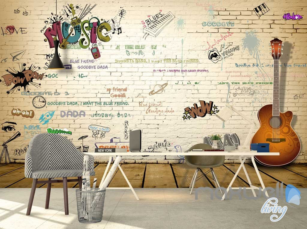 3D Graffiti Music Guitar Keyboard Wall Mural Paper Art Print Decals Decor IDCWP-TY-000063