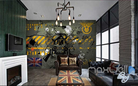 Image of 3D Graffiti Wall Captain Skull Wall Murals Paper Art Print Decals Decor IDCWP-TY-000064