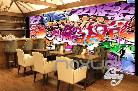 Image of 3D Graffiti Art Letters Wall Murals Paper Print Decals Decor Wallpaper IDCWP-TY-000065