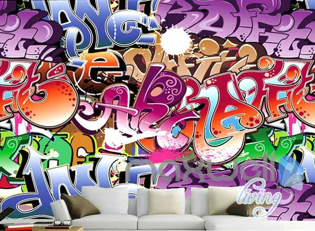 3D Graffiti Art Letters Wall Murals Paper Print Decals Decor Wallpaper IDCWP-TY-000065