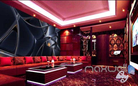 Image of 3D Black Glass Art Wall Murals Paper Print Decals Decor Wallpaper IDCWP-TY-000068