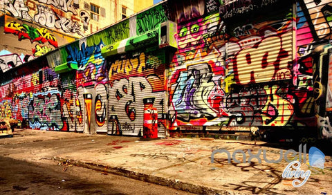Image of 3D Long Graffiti Wall Street Wall Murals Paper Print Decals Decor IDCWP-TY-000071