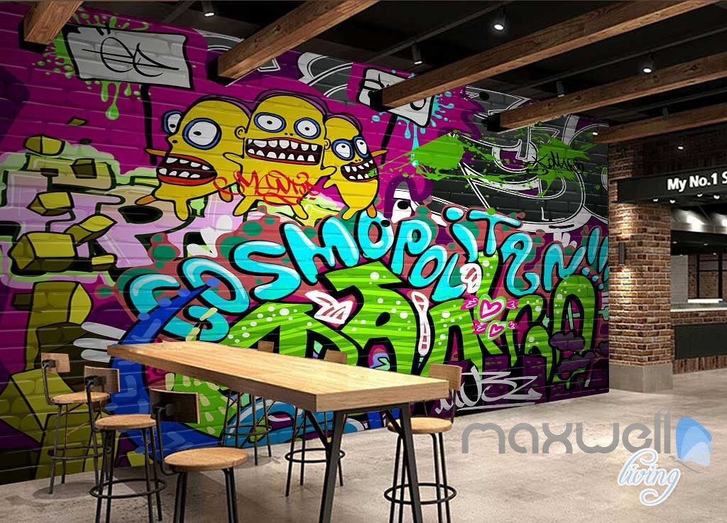 3D Graffiti Cosmopolitan Wall Murals Paper Print Decals Decor Wallpaper IDCWP-TY-000074
