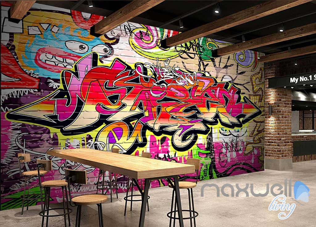3D Colorful Cartoon Brick Wall Murals Paper Art Print Decals Decor IDCWP-TY-000076