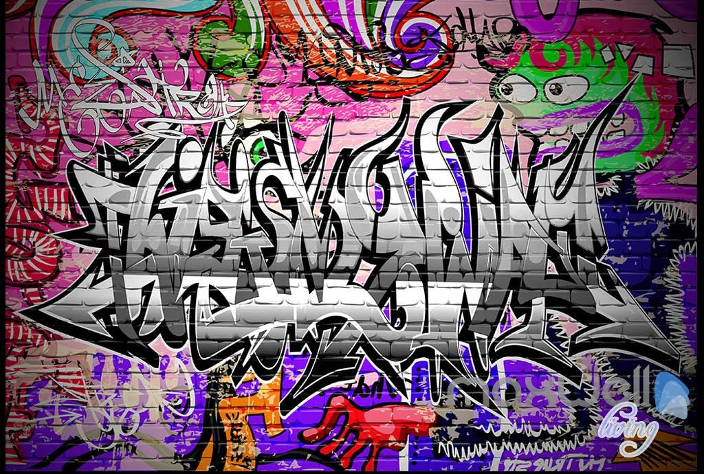 3D Graffiti Monster Wall Murals Paper Art Print Decals Decor Wallpaper IDCWP-TY-000077