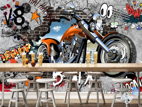 Image of 3D Graffiti Motorbike Break Brick Wall Art Murals Paper Print Decals Decor IDCWP-TY-000079