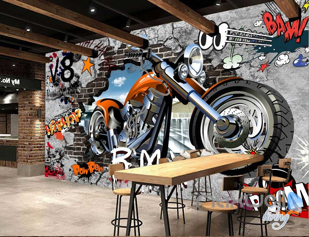 3D Graffiti Motorbike Break Brick Wall Art Murals Paper Print Decals Decor IDCWP-TY-000079