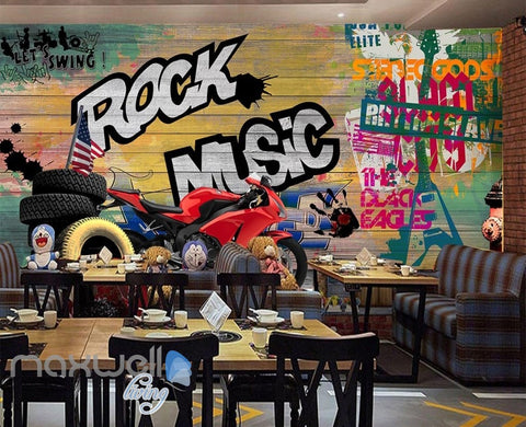 Image of 3D Colorful Graffiti Board Rock Music Wheel Motor Wall Murals Wallpaper Art Decals Decor IDCWP-TY-000080