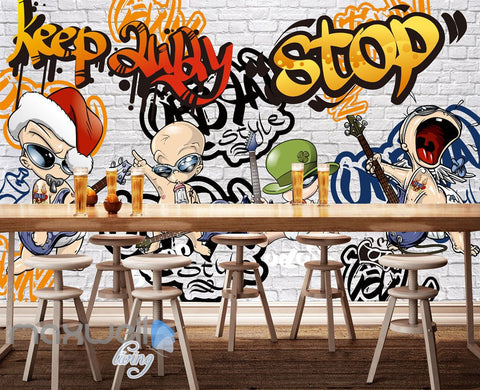 Image of 3D Graffiti Rock Baby Party Brick Wall Murals Wallpaper Art Decals Decor IDCWP-TY-000081