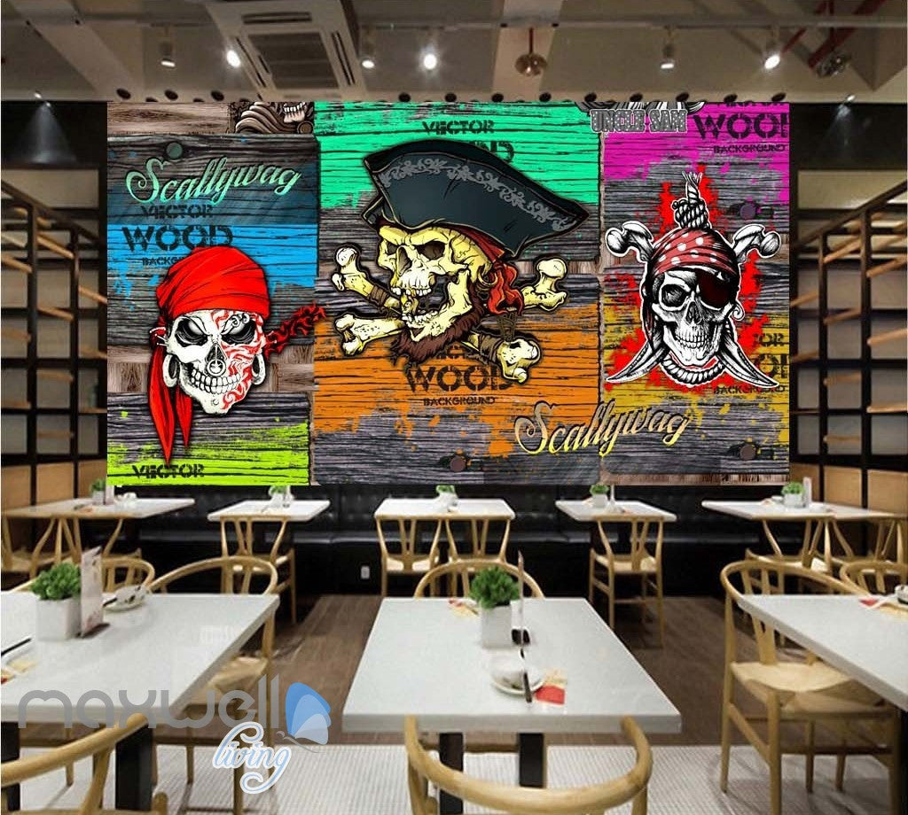3D Graffiti Pirate Skull Wall Murals Wallpaper Art Decals Decor Party Theme IDCWP-TY-000082
