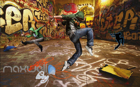 Image of 3D Graffiti Street Dancer Wall Murals Wallpaper Wall Art Decals Decor IDCWP-TY-000083