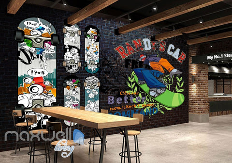 Image of 3D Graffiti Surfboard Brick Wall Murals Wallpaper Wall Art Decals Decor IDCWP-TY-000085