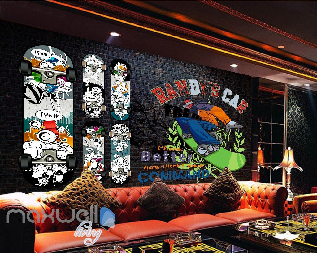 3D Graffiti Surfboard Brick Wall Murals Wallpaper Wall Art Decals Decor IDCWP-TY-000085