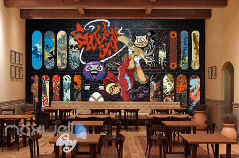 Image of 3D Graffiti Freestyle Surfer Brick Wall Murals Wallpaper Wall Art Decals Decor IDCWP-TY-000086