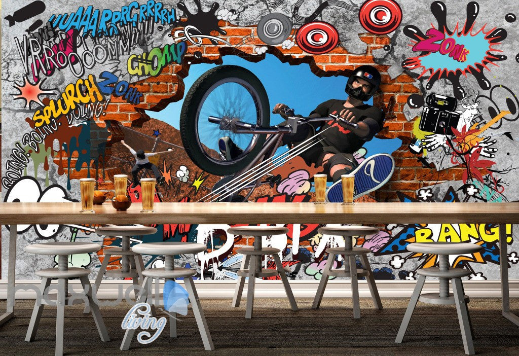 3D Graffiti Bicycle Xsports Wall Murals Wallpaper Wall Art Decals Decor IDCWP-TY-000088