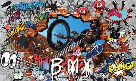 Image of 3D Graffiti Bicycle Xsports Wall Murals Wallpaper Wall Art Decals Decor IDCWP-TY-000088