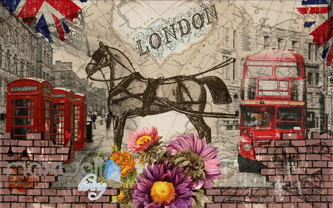 Image of 3D Vintage London Bus Horse Wall Murals Wallpaper Wall Art Decals Graffiti Decor IDCWP-TY-000089
