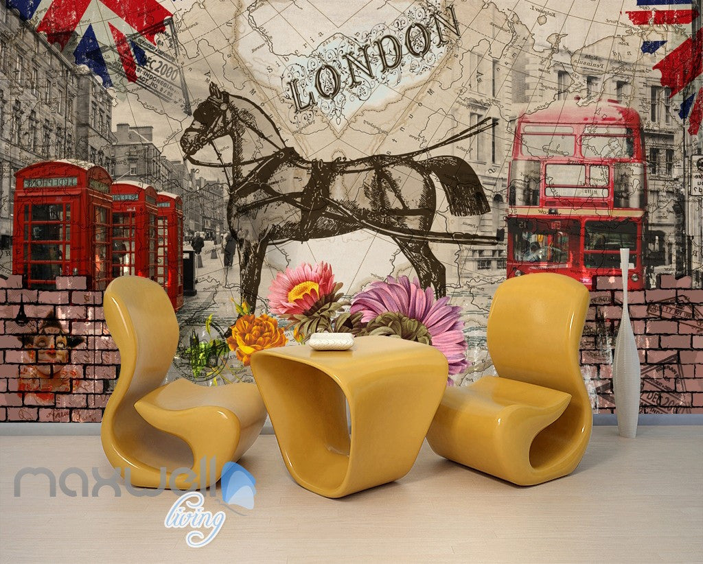 3D Vintage London Bus Horse Wall Murals Wallpaper Wall Art Decals Graffiti Decor IDCWP-TY-000089
