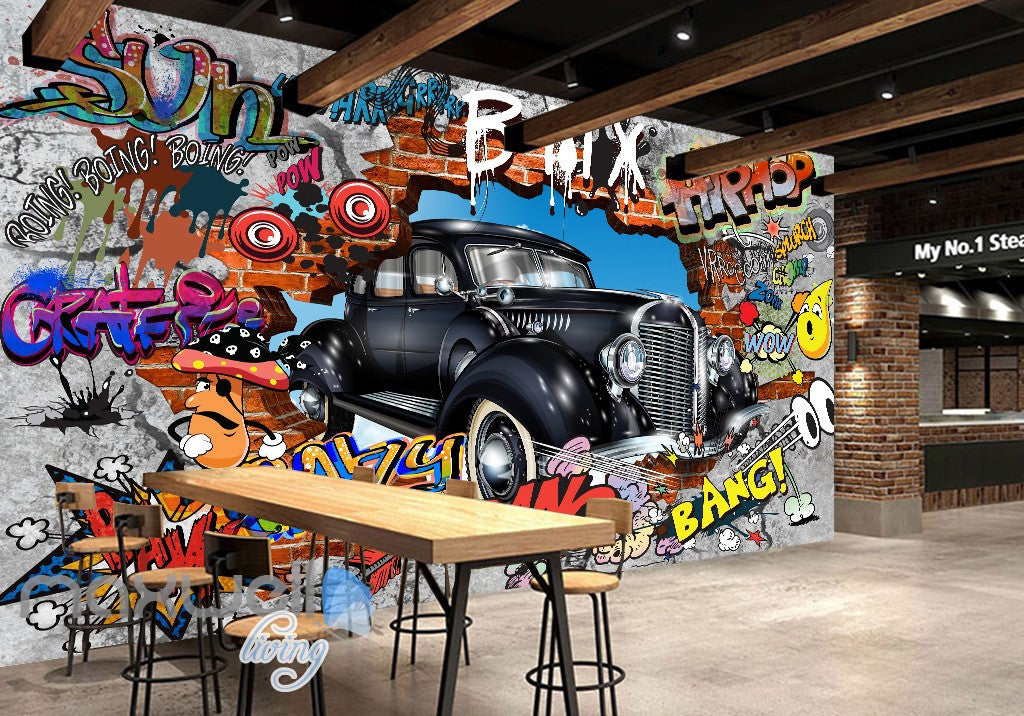 3d graffiti vintage car break wall murals wallpaper wall art decals decor idcwp ty