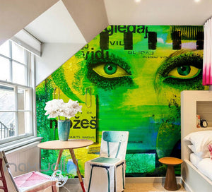 3D Graffiti Eyes Abstract Face Wall Murals Wallpaper Wall Art Decals Decor IDCWP-TY-000094