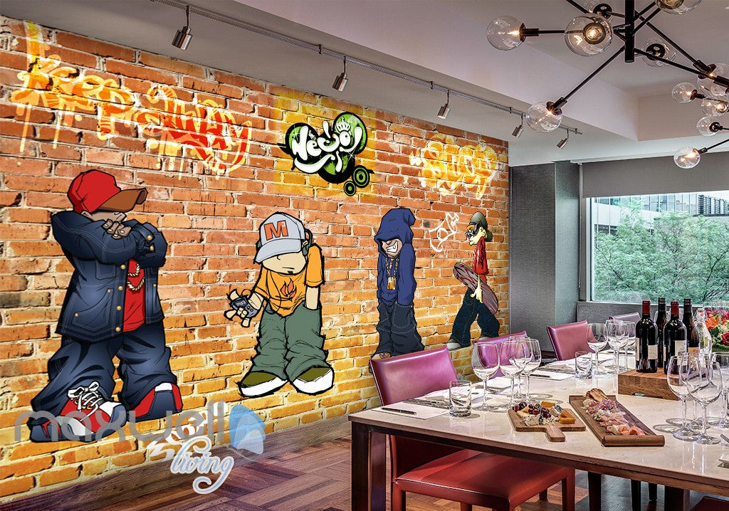 3D Graffiti Boys Brick Wall Murals Wallpaper Wall Art Decals Decor  IDCWP TY 000097 Part 92
