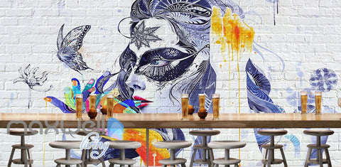 Image of 3D Graffiti Butterfly Lady Wall Murals Wallpaper Wall Art Decals Decor IDCWP-TY-000101