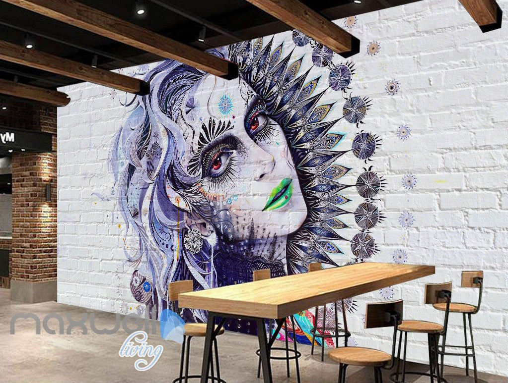 3D Graffiti Retro Queen Brick Wall Murals Wallpaper Wall Art Decals Decor IDCWP-TY-000102