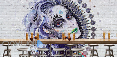 Image of 3D Graffiti Retro Queen Brick Wall Murals Wallpaper Wall Art Decals Decor IDCWP-TY-000102