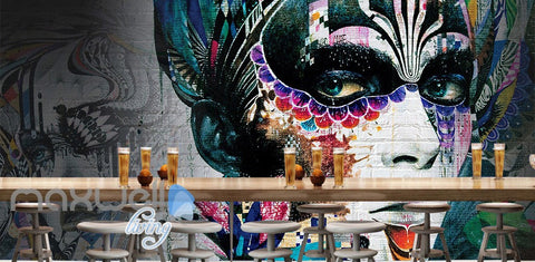 Image of 3D Graffiti Party Queen Colorful Art Wall Murals Wallpaper Wall Art Decals Decor IDCWP-TY-000103