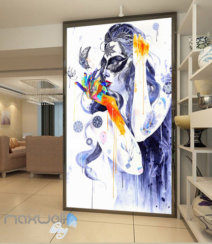 Image of 3D Graffiti Retro Lady Butterfly Wall Murals Wallpaper Wall Art Decals Decor IDCWP-TY-000106