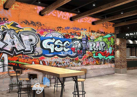 Image of 3D Graffiti Rap Letters Orange Wall Murals Wallpaper Wall Art Decals Decor IDCWP-TY-000107