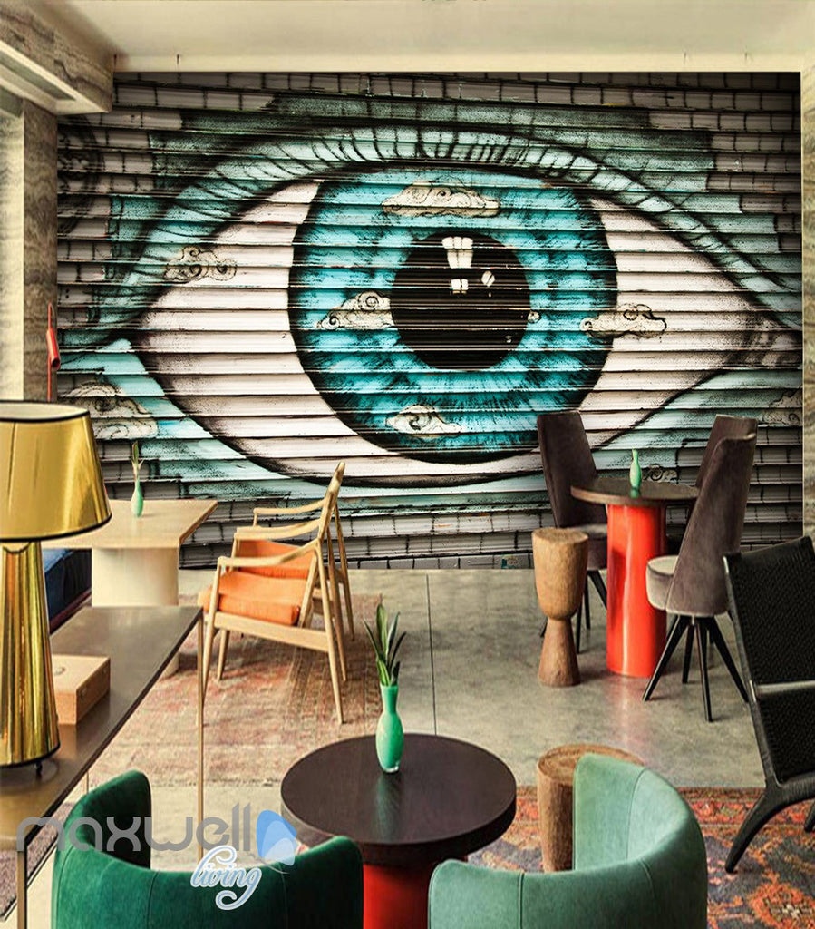 3D Graffiti Large Eyes Brick Wall Murals Wallpaper Wall Art Decals Decor IDCWP-TY-000109