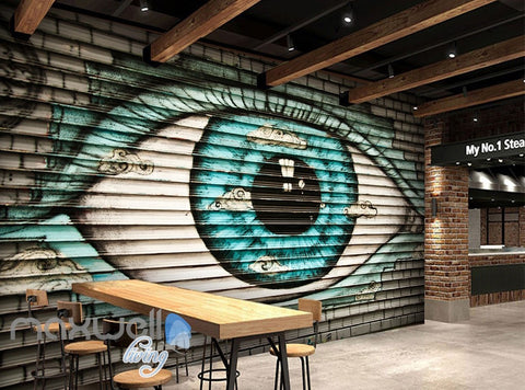 Image of 3D Graffiti Large Eyes Brick Wall Murals Wallpaper Wall Art Decals Decor IDCWP-TY-000109