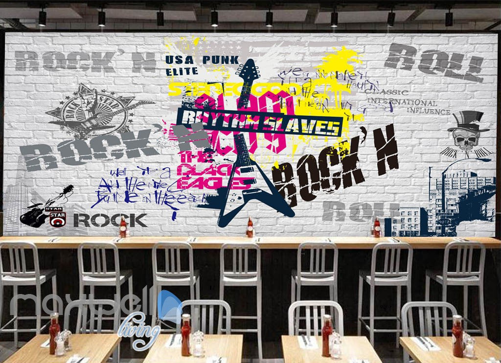 3D Graffiti Rock Roll Punk Brick Wall Murals Wallpaper Wall Art Decals Decor IDCWP-TY-000110