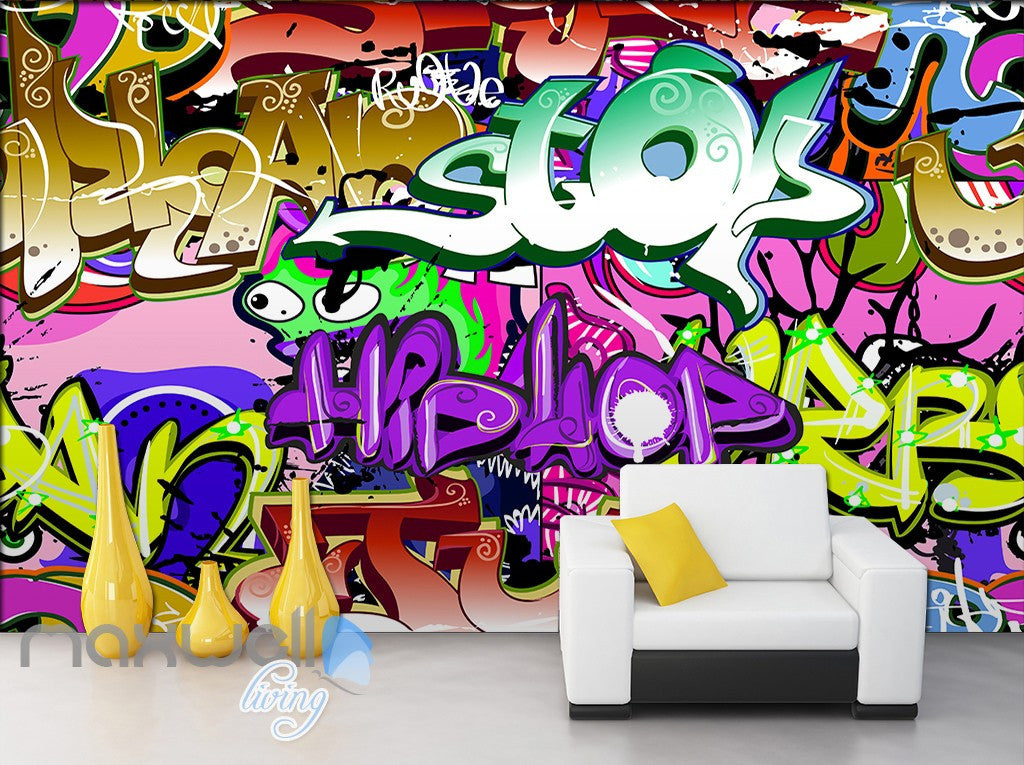 3D Graffiti Letters Abstract Hiphop Wall Murals Wallpaper Wall Art Decals  Decor IDCWP TY